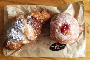 Chocolate and coconut croissant & a raspberry donut.