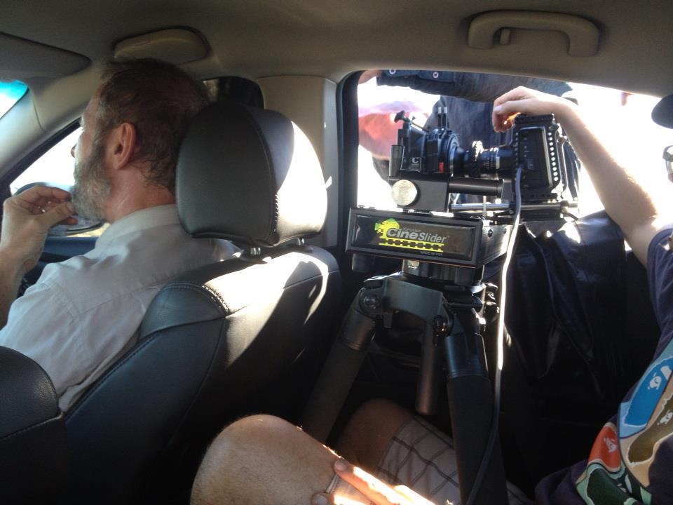 Filming in a car