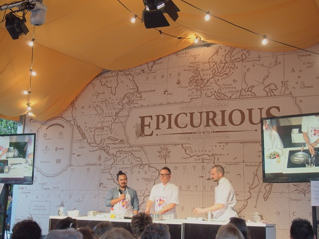 Adam Liaw and Spencer Patrick cooking under the Epicurious Tent