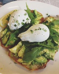 The essential breakfast; poached eggs & avo on toast.