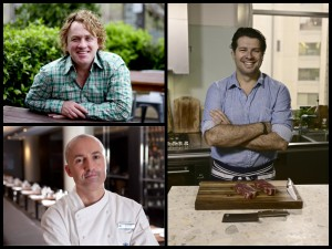 Left: Chefs Adrian Richardson and Jeremy Clark and butcher Anthony Puharich