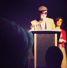 Ghostboy accepts the Thomas Shapcott Poetry Prize on behalf of David Stavanger. Image by Eleanor Jackson.