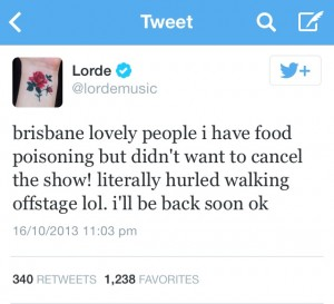 Posted an hour later, Lorde explained her abrupt ending to the show