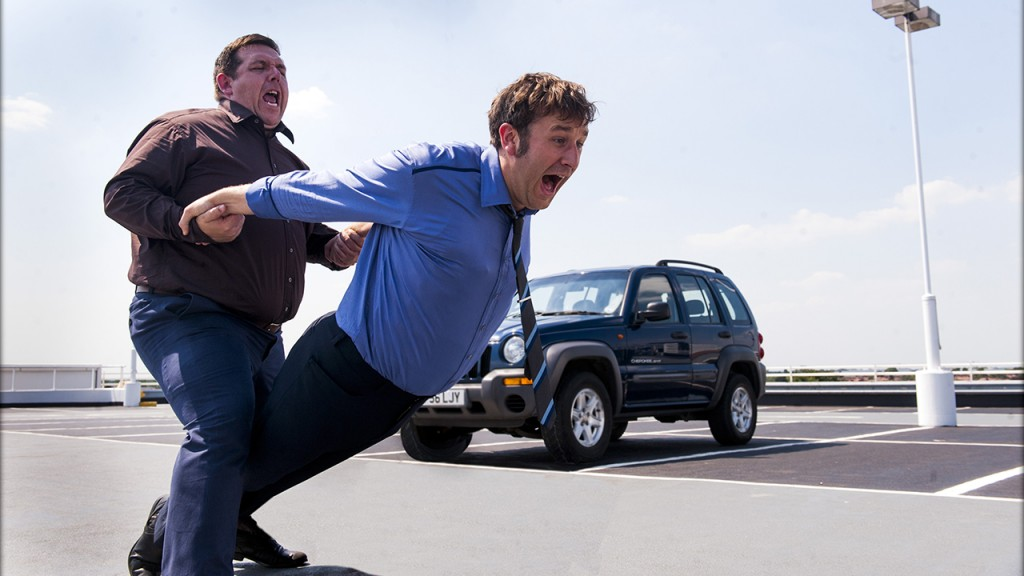 Nick Frost (left) and Chris O'Dowd (right) dance till the death (Source www.ign.com)