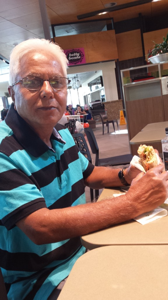 Anna, 70, enjoying a vego Subway for lunch