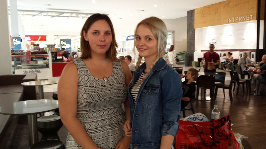 L-R: Seaneadé, 23 and Jess, 23 were winding down after an afternoon of shopping.