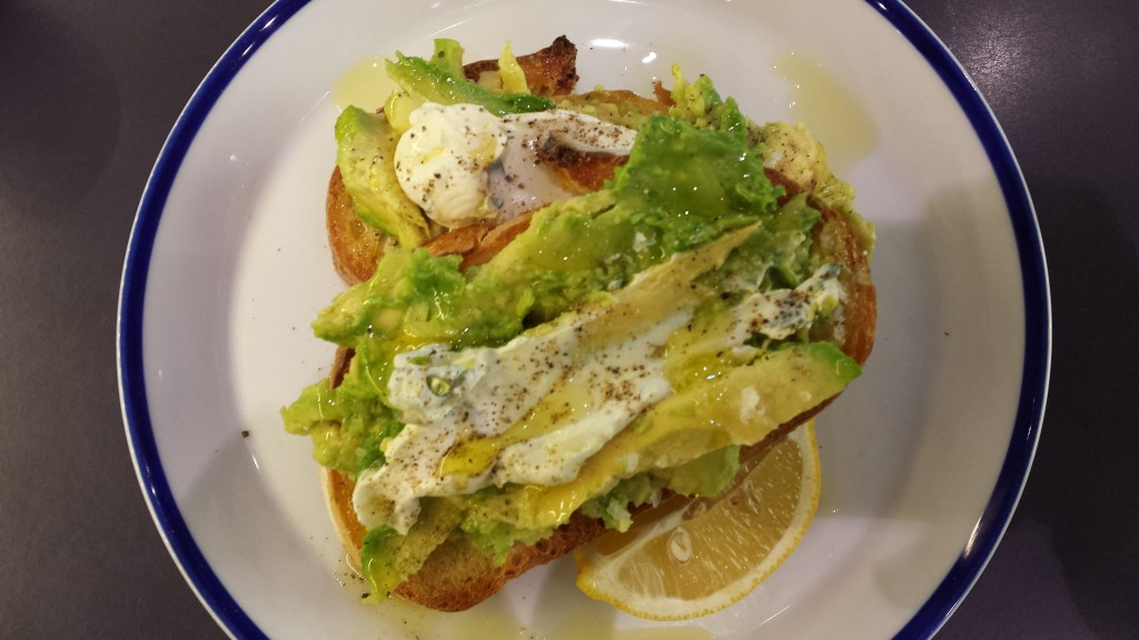 Smashed avocado on toast.