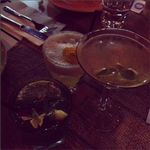 Clockwise from left: Blue Jeans, Vanilla Fig Sour and the Honey Basil Martini