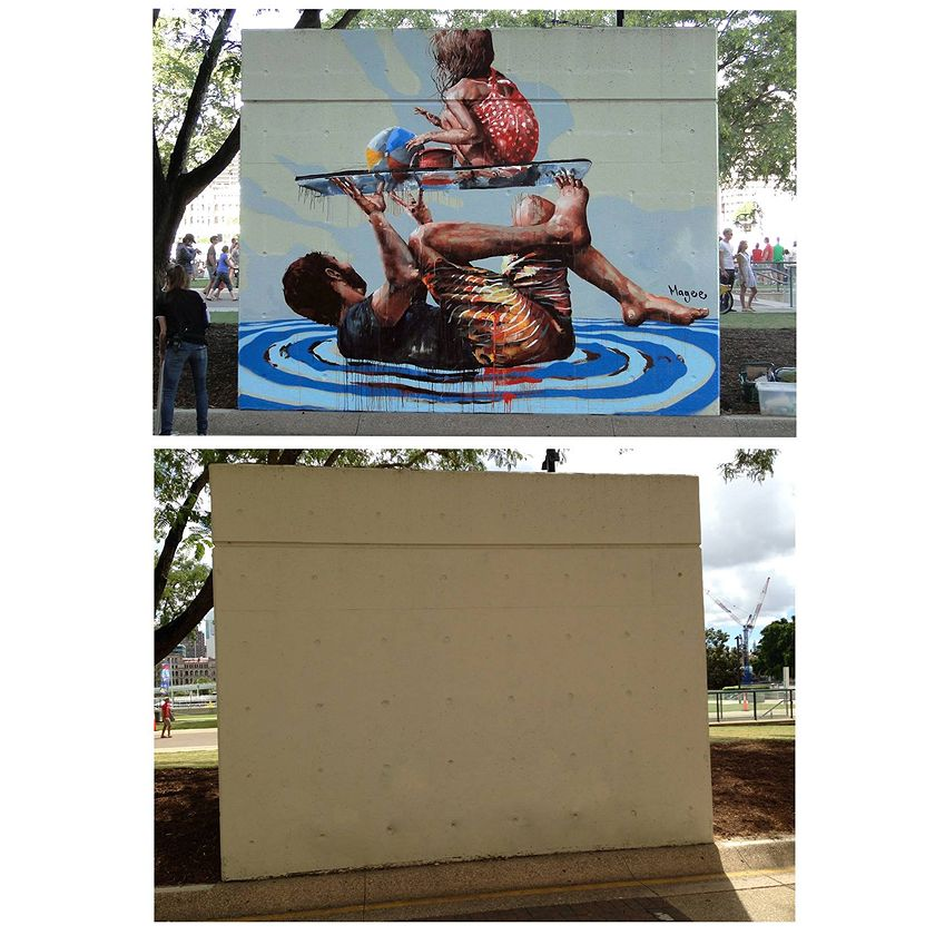 Photo of: Fintan Magee work in Southbank before and after painted over. Photo credit: ABC