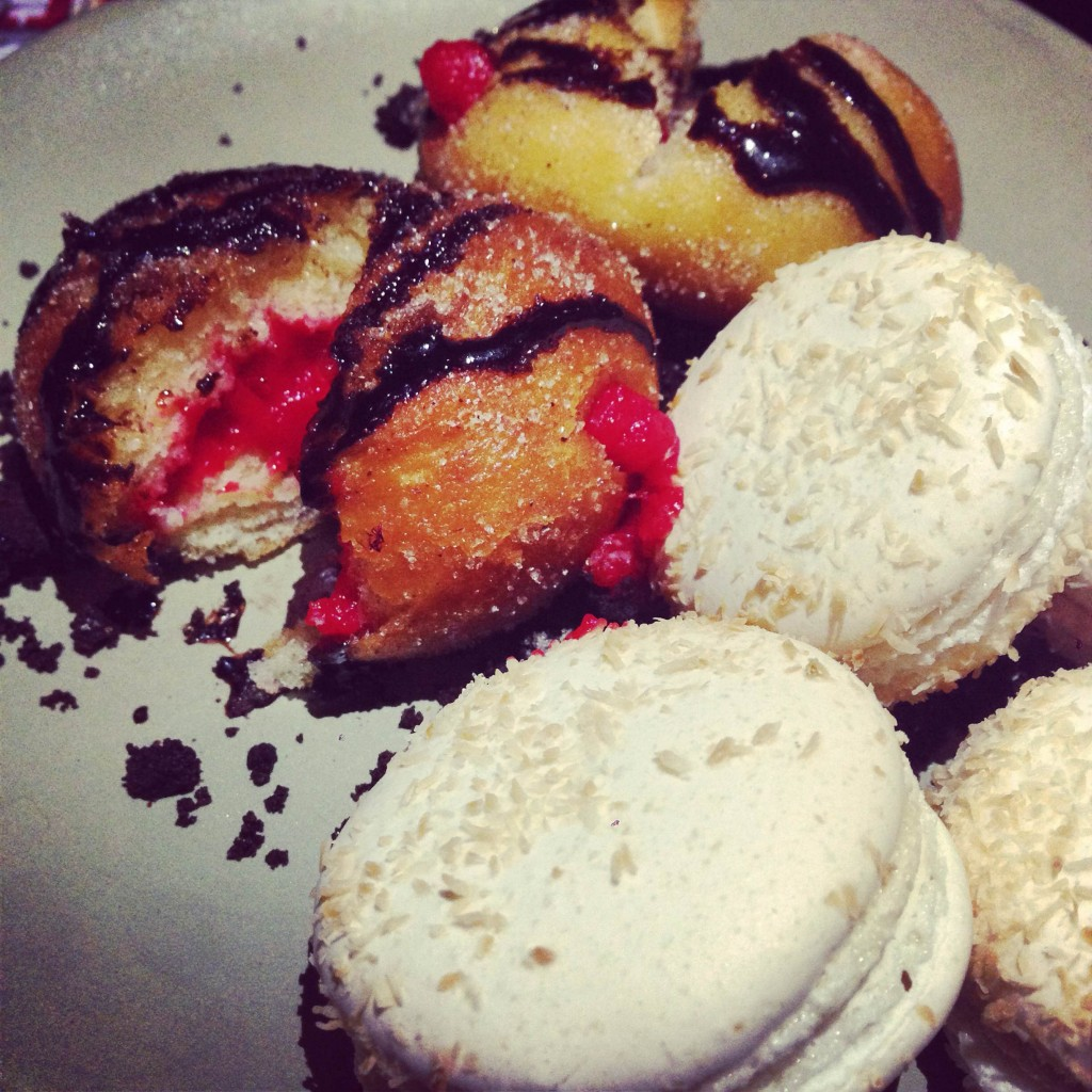 Donuts and raspberry filled macarons