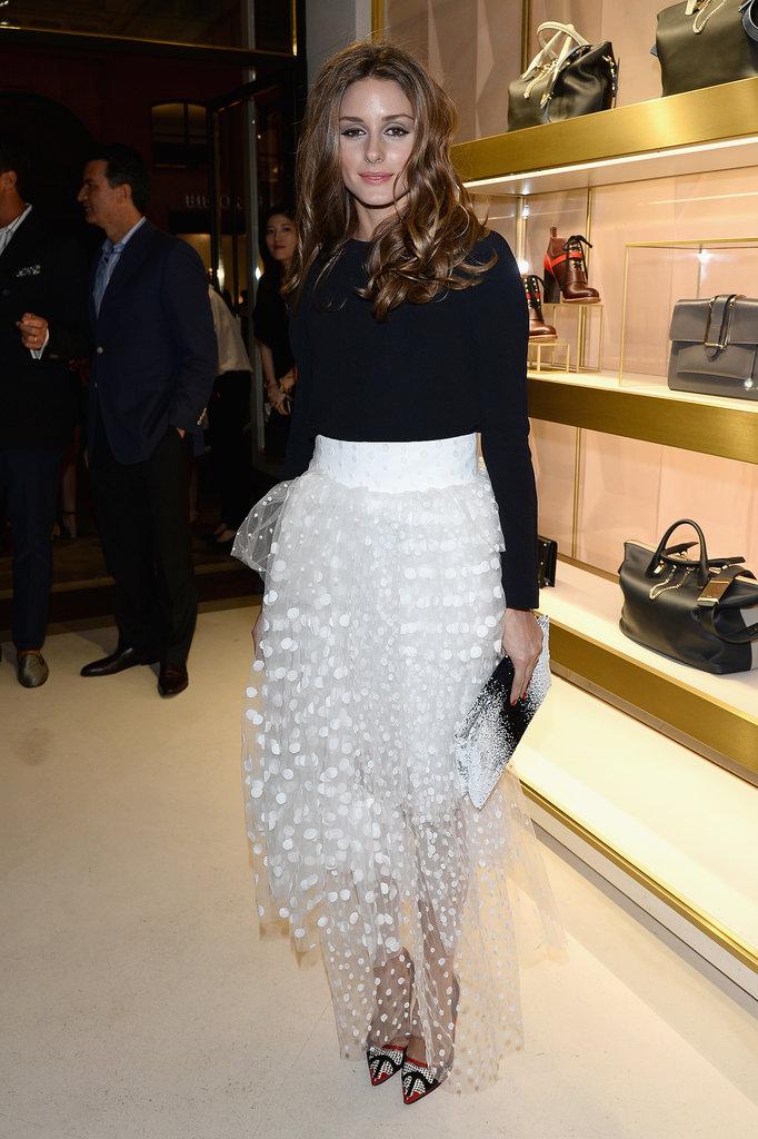 Olivia-Palermo-tucked-black-sweater-sheer-white-tulle-maxi