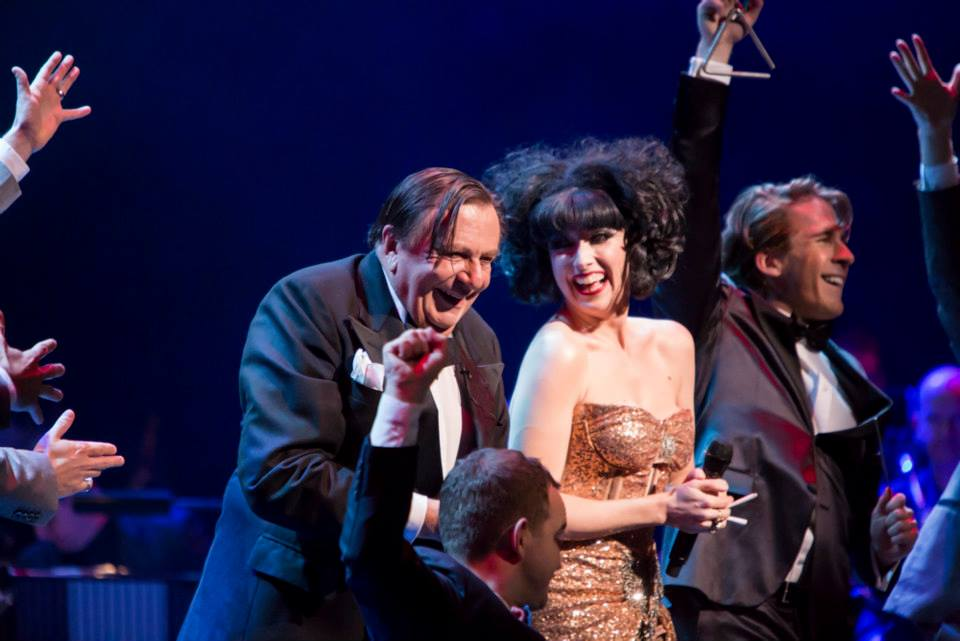 Barry Humphries, Meow Meow and Hugh Sheridan onstage at the Variety Gala performance