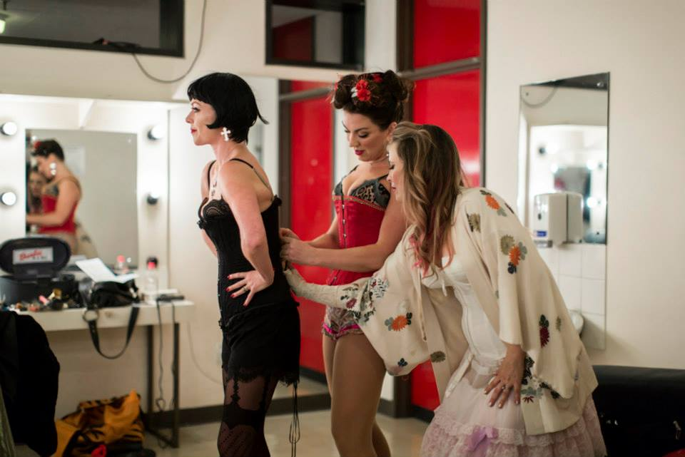 Dimity Shepherd, Antoinette Halloran and Ali McGregor before performing Opera Burlesque